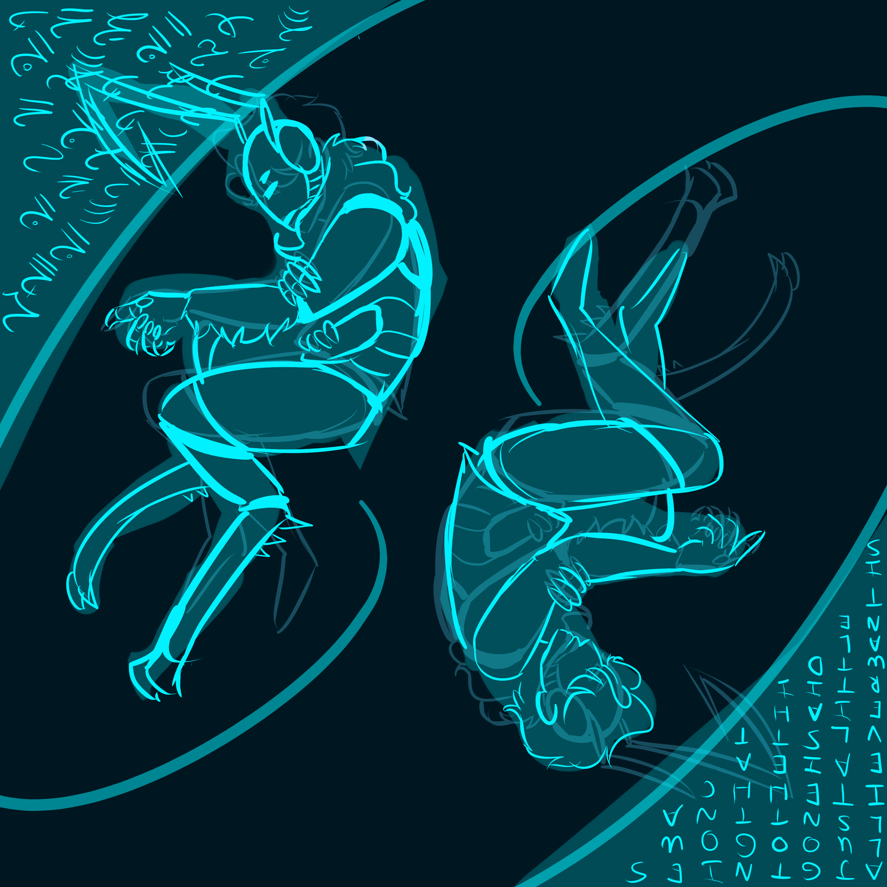 Digital artwork of two people, one human the other one alien. They are lined in bright cyan on a black background. One is upright, slightly hunched over, the other is the same but mirrored and upside down.